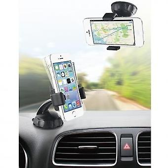 Bundle Muvit universal car holder 360 °, for windscreen fitting, 2 x screen protector Galaxy S6