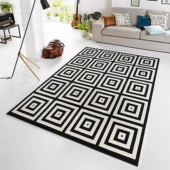 Designer velour carpet Mono black cream