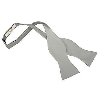 Silver Solid Check Self-Tie Bow Tie