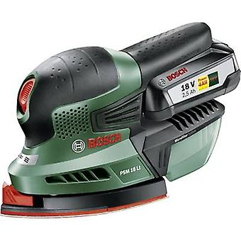 Cordless multifunction sander incl. rechargeables 18 V 2.5 Ah Bosch Home and Garden PSM 18 LI 06033A1303 93 x 93 x 93 m