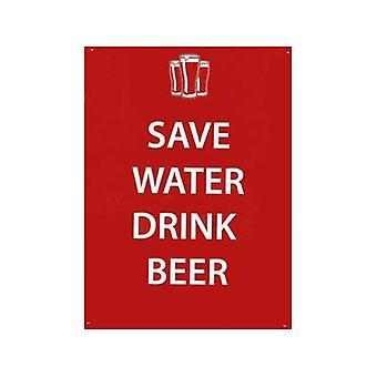 Ahorrar agua bebida cerveza muestra del Metal
