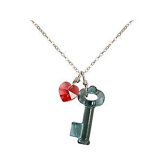 Gemshine - vrouwen - hart - hanger - ketting 925 zilver - sleutel--blauw - rood - MADE WITH SWAROVSKI ELEMENTS® - 45 cm