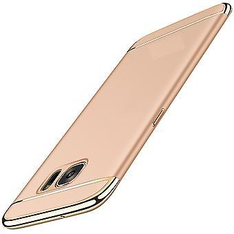 Handy Hülle Schutz Case für Samsung Galaxy S6 Bumper 3 in 1 Cover Chrom Gold