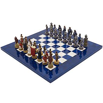 The King Arthur Hand Painted Themed Luxury Blue Chess Set By Italfama