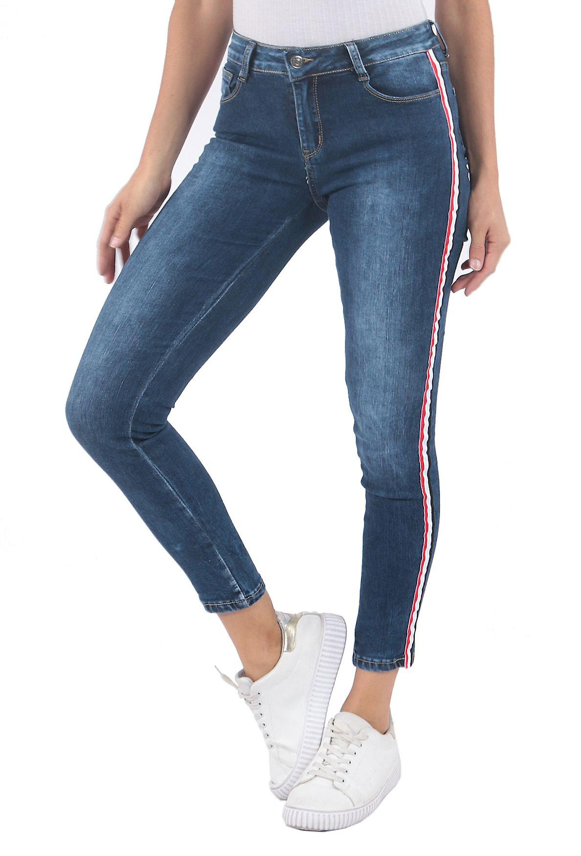 Ladies Jeans Stripes Pants Skinny Tube Jeans Contrast Stripes Denim Trackpants