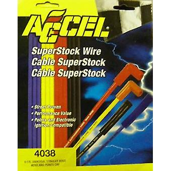 ACCEL 4038 SuperStock 8mm 4000 Series Yellow Copper Spark Plug Wire Set