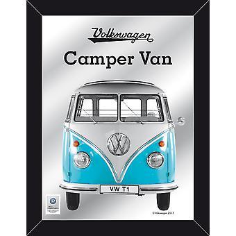 VW XL Spiegel Bulli T1 Volkswagen Lizenz Wandspiegel bedruckter Spiegel,  schwarzer Kunststoffrahmen in Holzoptik.