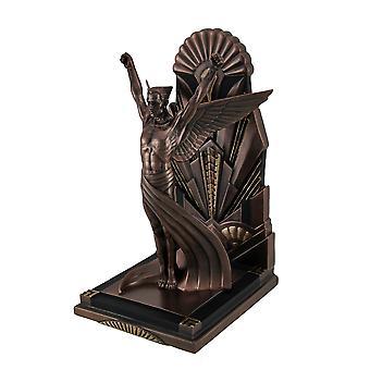Den bevingede menneske metalliske kobber Finish Art Deco enkelt markøren statuen