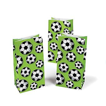 12 Football Print Paper Party Bags   Kids Party Loot Bags