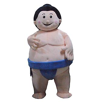 mascot sumo SPOTSOUND, big Japanese wrestler, with a blue slip