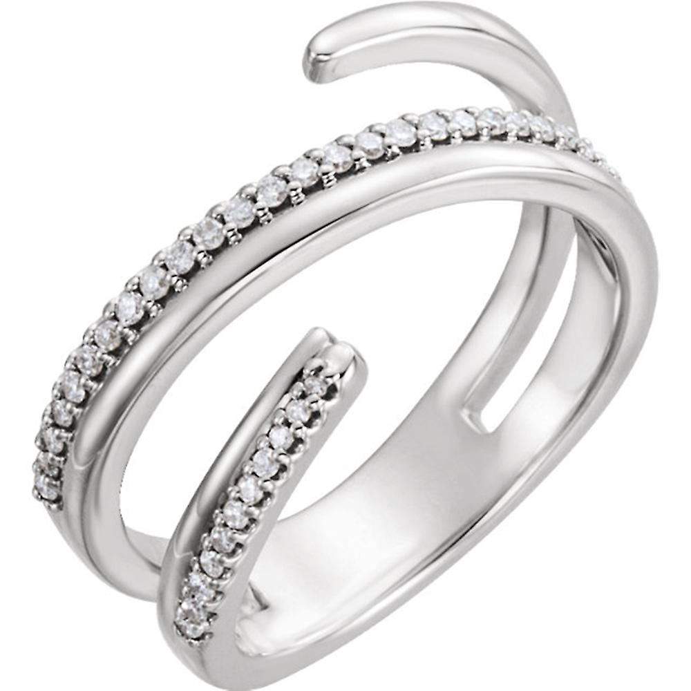 14kt blanc 1 6 CTW Diamond Negative Space Ring Right Hand Twist Ring