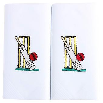 David Van Hagen haftowane Cricket chusteczka - biały/żółty/czerwony