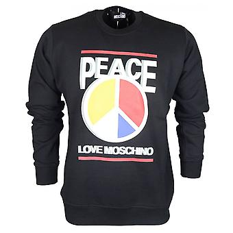 Moschino Regular Fit Round Peace Moschino Black Sweatshirt