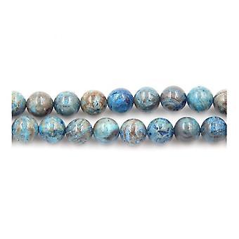 Strand 60+ Cyan/Brown Calsilica Jasper 6mm Plain Round Beads Y02245
