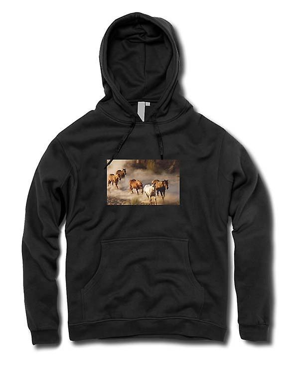 Mens Hoodie - Stampeding Horses Prairie Design
