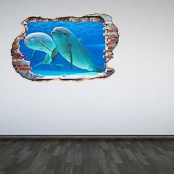 Полный цвет пара дельфинов разбил стены стикер стены 3D-эффект