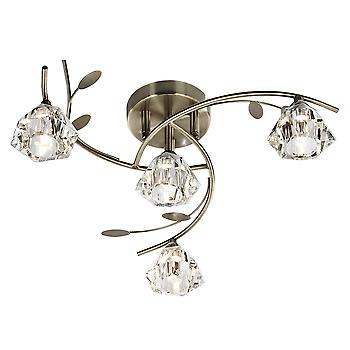 2634-4AB Sierra 4 Light Semi Flush Ceiling Light Antique Brass