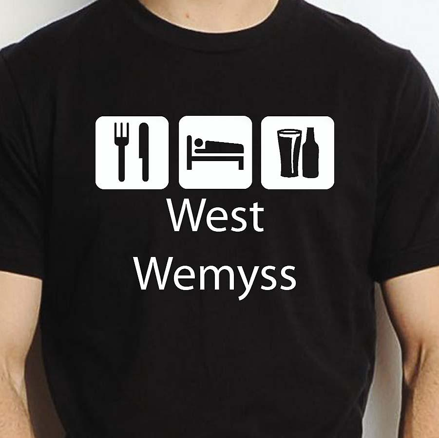 Eat Sleep Drink Westwemyss Black Hand Printed T shirt Westwemyss Town