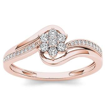 IGI Certified 10k Rose Gold 0.25 Ct Diamond Flower Bypass Engagement Ring