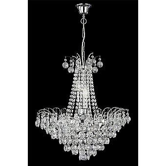 6 luci cromo cristallo lampadario-girasole - Searchlight 9071-52CC