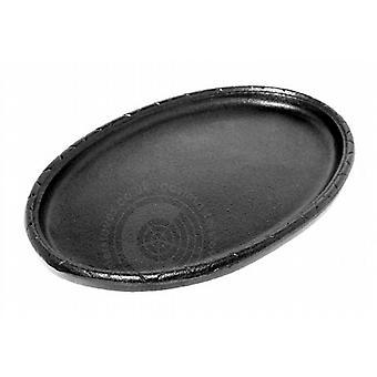 Gietijzeren ovale sissende Sizzler Pan serveren gerecht plaat bakken Tray - 16 x 10.5cm
