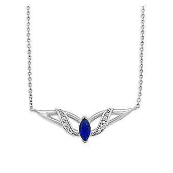 Ah! Smycken Sterling Silver hänge halsband med en Oval Sappire