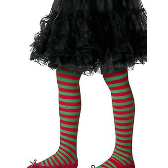 Girls Green & Red Striped Tights Christmas Elf Fancy Dress Accessory