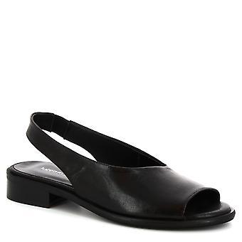 Leonardo skor kvinnors handgjorda slip-on slingback sandaler svart kalv läder