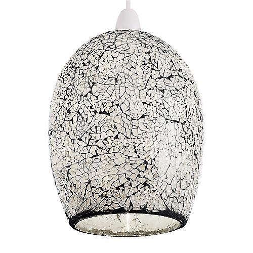 Endon NE-WINDSOR-WH Non Electric White And Black Mosaic Glass Pendant Shade