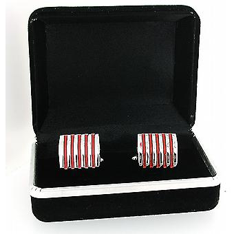 Red Ribbed Base Metal Fancy Gents Cuff Links