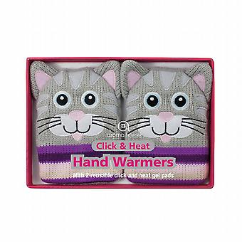 Click & Heat Knitted Cover Gel Hand Warmers: Grey Cat (Pair)