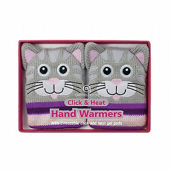 Cliquez sur & chaleur réchauffe-mains de Gel couverture tricotée : Chat gris (paire)