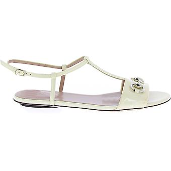 Gucci White Leather Sandals