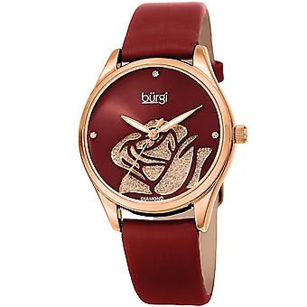 Burgi Women's Quartz  Rose Cut-Out Dial with Glitter Powder Satin Over Leather Strap Watch BUR189RGR