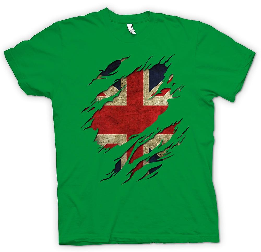 Mens T-shirt - Union Jack Flag Grunge Ripped Effect