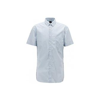 Hugo Boss Casual Hugo Boss Mens Slim Fit Magneton Short Sleeved White Shirt
