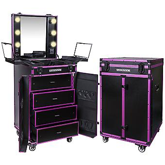SHANY Light-Up Makeup Mirror Station and Storage - Rolling Cosmetics Case with Multiple Compartments with Light Bulbs Included