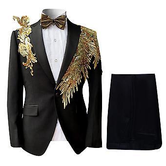 Allthemen Hommes Tuxedos de danse 2-Pieces Suits Sequin Costumes Blazer-Pantalon-Tie