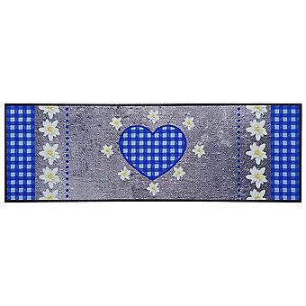 Teppich Boss Küchenläufer Edelweiß Herz grau/blau waschbar rutschfest 50x150 cm
