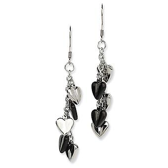 Stainless Steel Shepherd hook IP black-plated Black IP Plating and Polished Hearts Dangle Earrings