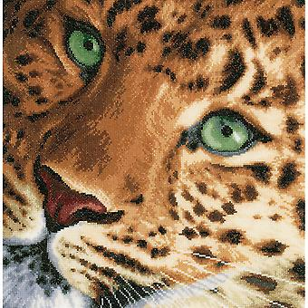 LanArte Leopard On Aida Counted Cross Stitch Kit-13.75