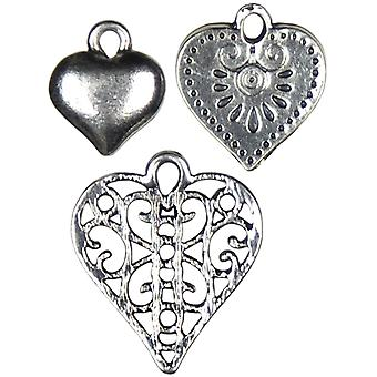 Jewelry Basics Metal Charms Silver Heart 10 Pkg Jbcharm 8312