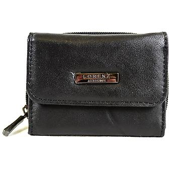 Turno Ladies Handy morbidissima Nappa Leather Purse Tri-Fold con Zip tasca