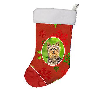 Red Snowflakes Holiday Christmas  Yorkie / Yorkshire Terrier Christmas Stocking