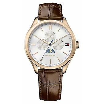Tommy Hilfiger Mens Oliver Brown Leather Strap White Dial 1791306 Watch