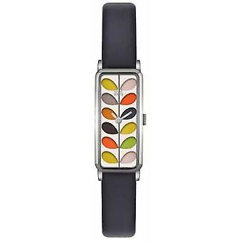 Orla Kiely Womens Navy Leather Strap Stainless Steel Case OK2131 Watch