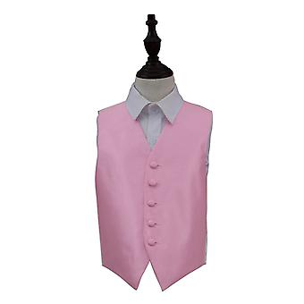 Light Pink Solid Check Wedding Waistcoat for Boys