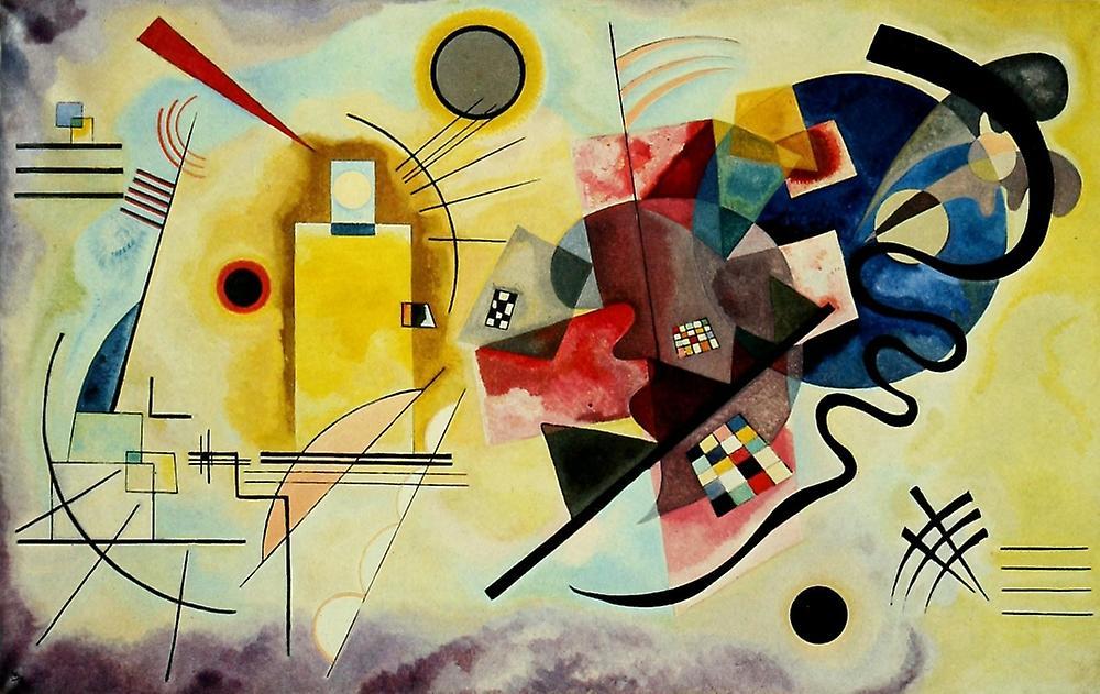 Impression affiche jaune-rouge-bleu 1925 par Wassily Kandinsky