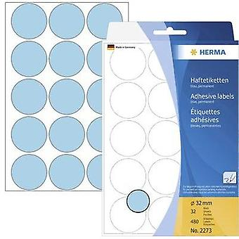 Herma 2273 Labels (hand writable) Ø 32 mm Paper Blue 480 pc(s) Permanent Sticky dots