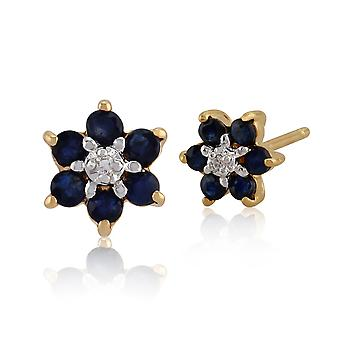 9ct Yellow Gold 0.43ct Genuine Sapphire & Diamond Flower Cluster Stud Earrings